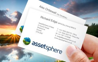 AssetSphere logo and business cards