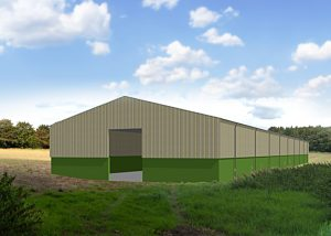 3D render of large agricultural storage building